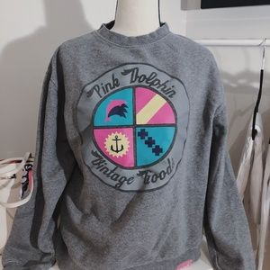 Pink Dolphin Grey Graphic Crewneck Sweatshirt